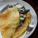 Savoury Chickpea Crepes with Creamy Mushrooms & Spinach