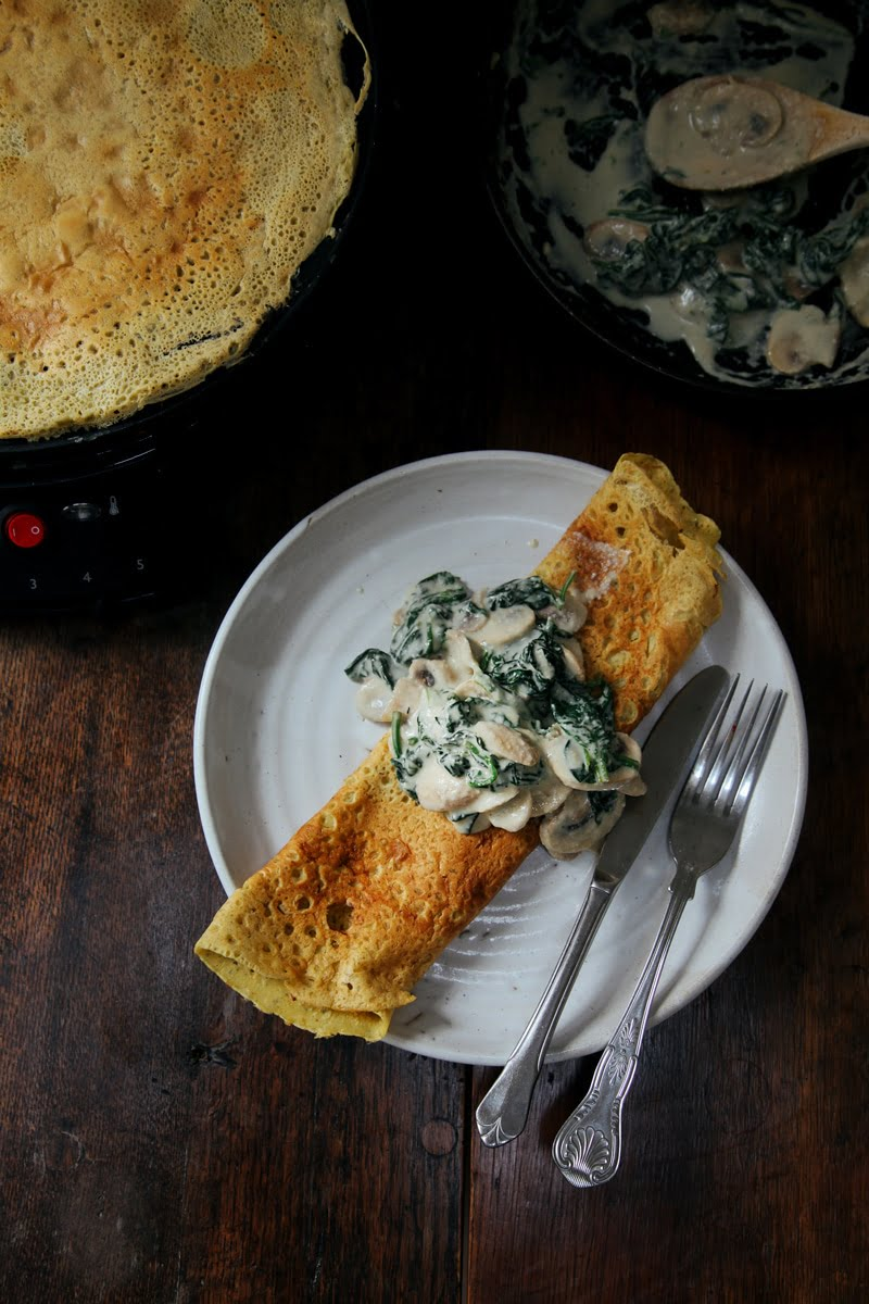 Savoury Chickpea Crepes with Creamy Mushrooms & Spinach (Vegan + GF)