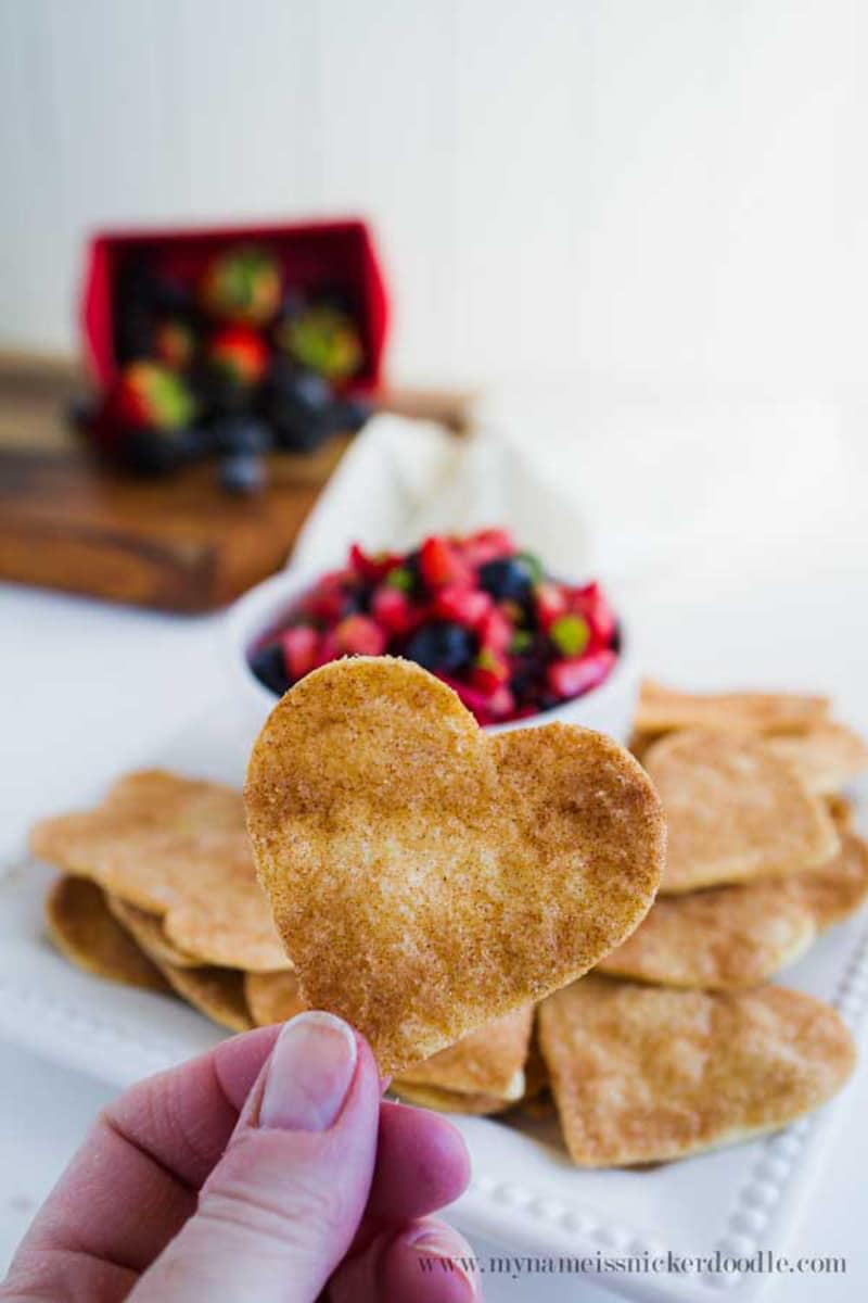 Fruit Salsa with Cinnamon Tortilla Chips via mynameissnickerdoodle.com
