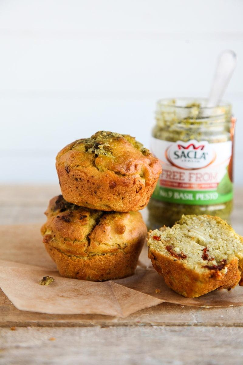 Savoury Pesto & Sun-Dried Tomato Muffins (Vegan + GF)