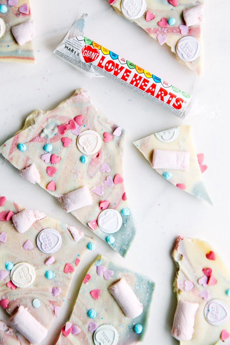 Love Hearts Chocolate Unicorn Bark (vegan + dairy-free)