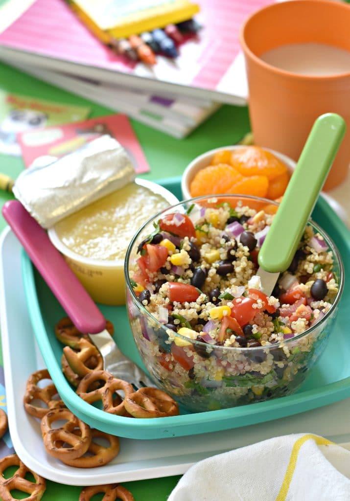 Lunchbox Black Bean Quinoa Salad via forkandbeans.com
