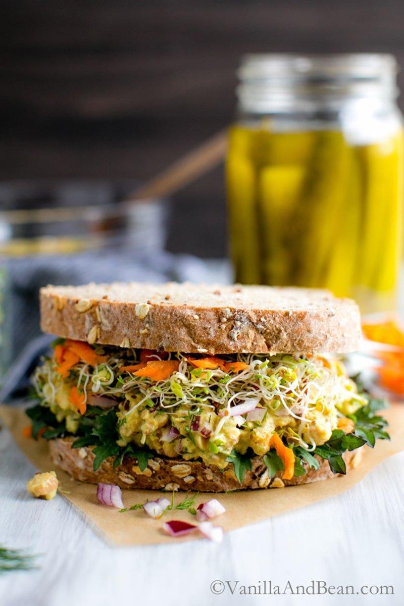 Smashed Chickpea Salad Sandwich via vanillaandbean.com
