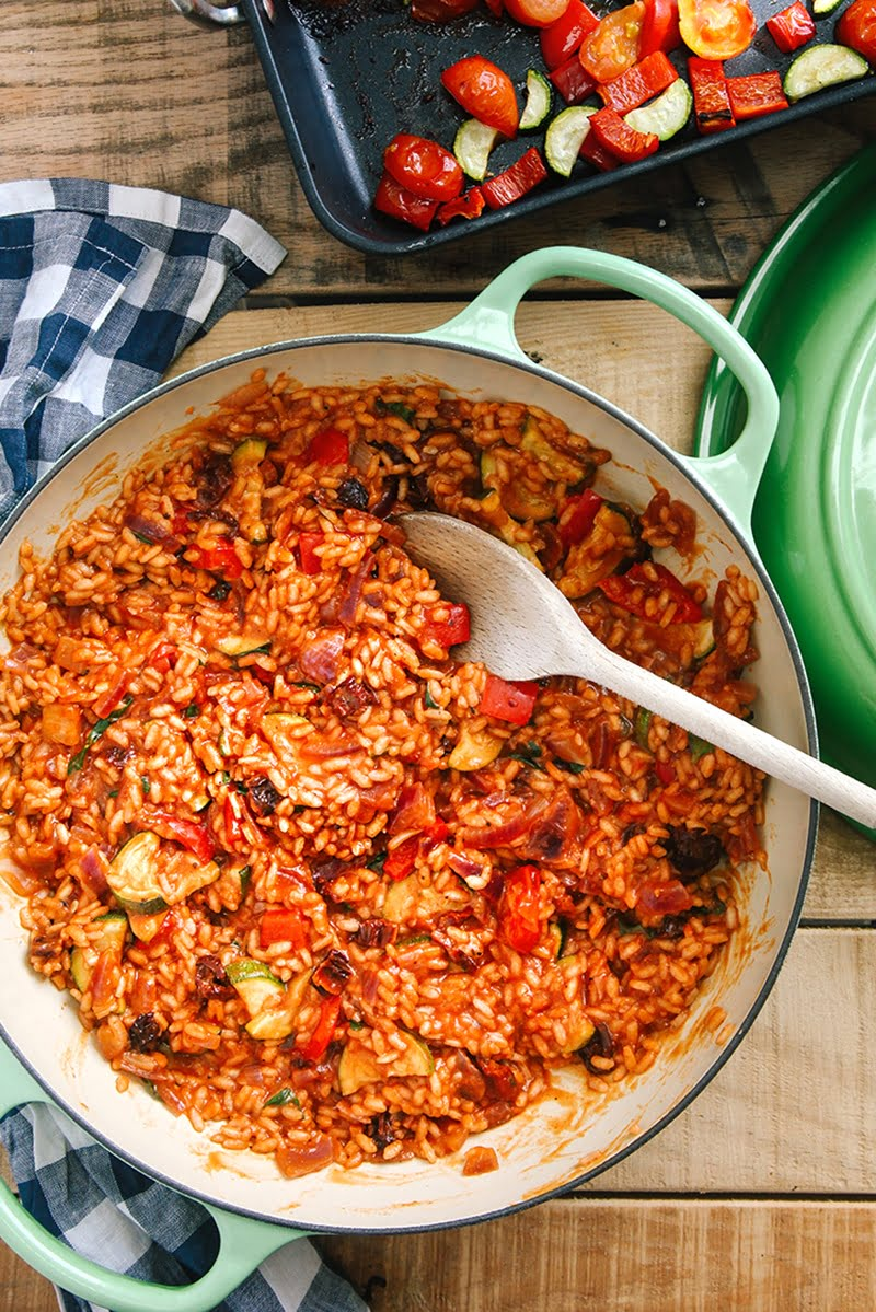 Tomato & Roasted Mediterranean Vegetable Risotto (Vegan)