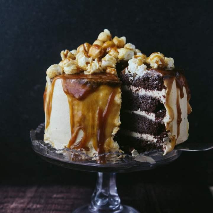 Chocolate Caramel Popcorn Cake (Vegan)