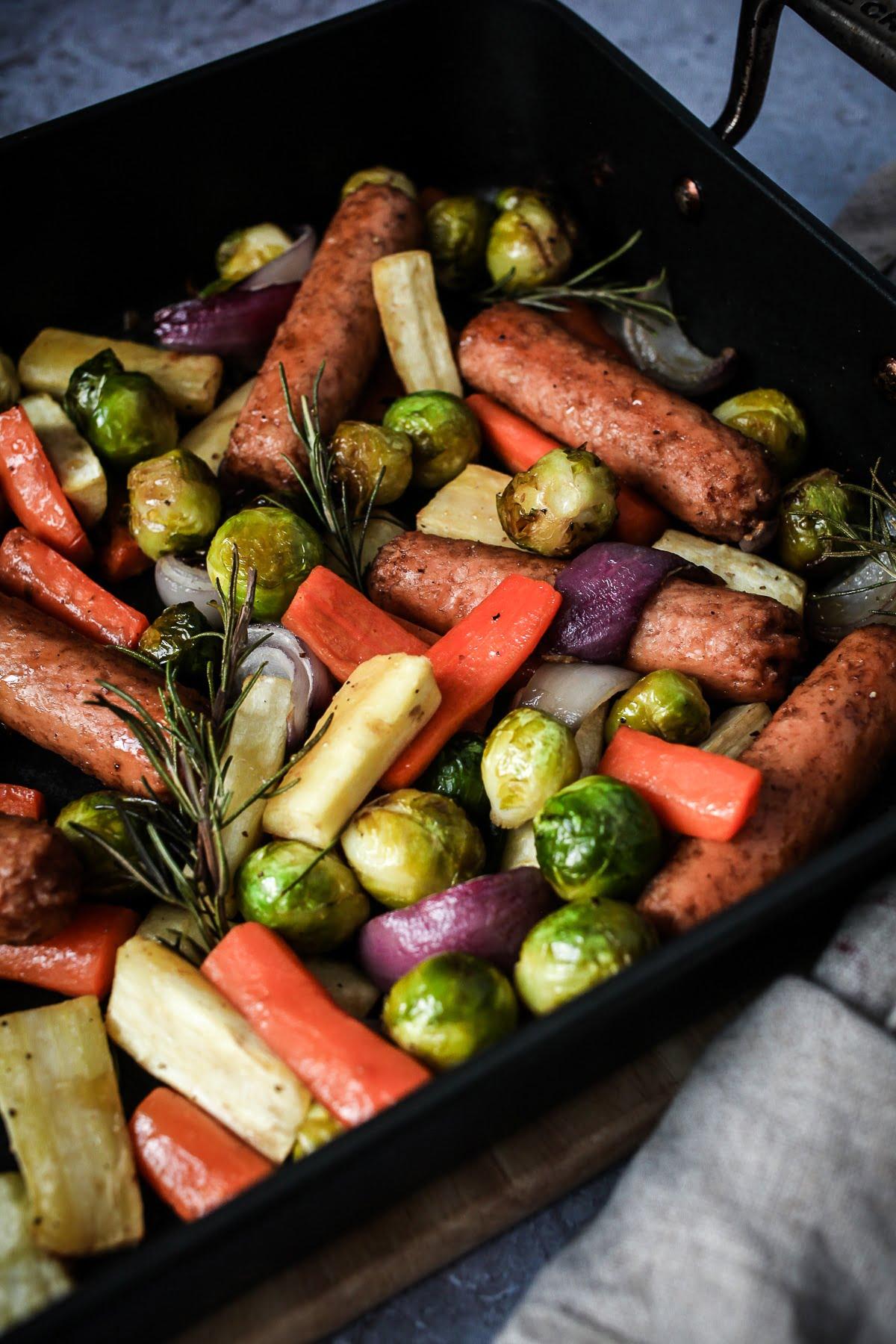 #Vegan Christmas Veg & Sausage Traybake
