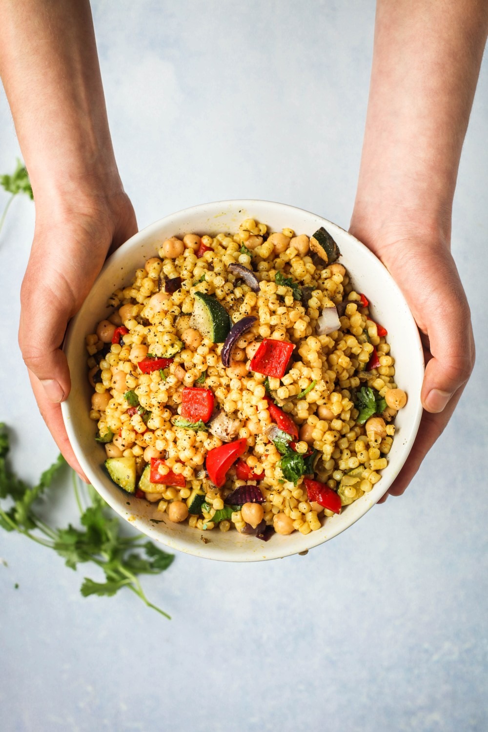 Golden Garlic Couscous with Vegetables & Chickpeas