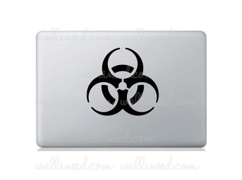biohazard sign laptop sticker