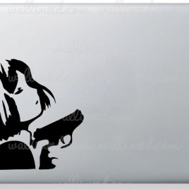 girl with a gun manga laptop sticker
