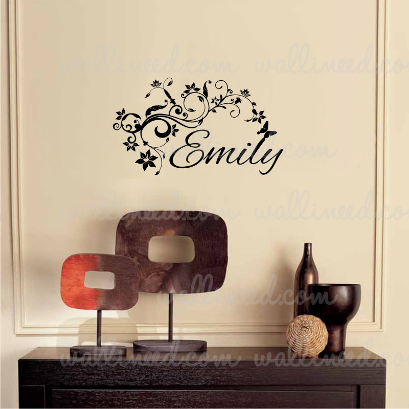 name flower wall decal