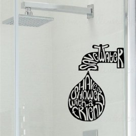 save water shower sign sticker