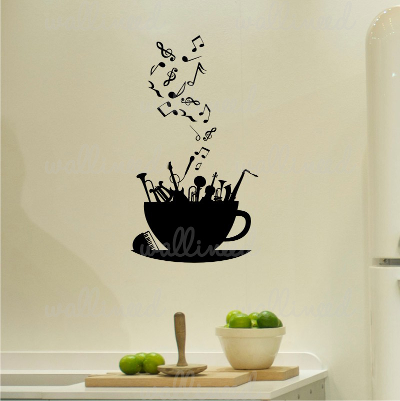 music coffee wall decal