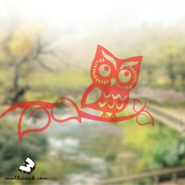 Owl On Branch Window Sticker