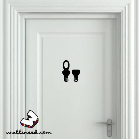 Toilet Seat Up And Down Bathroom Door Sticker