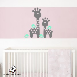 baby giraffes wall decal