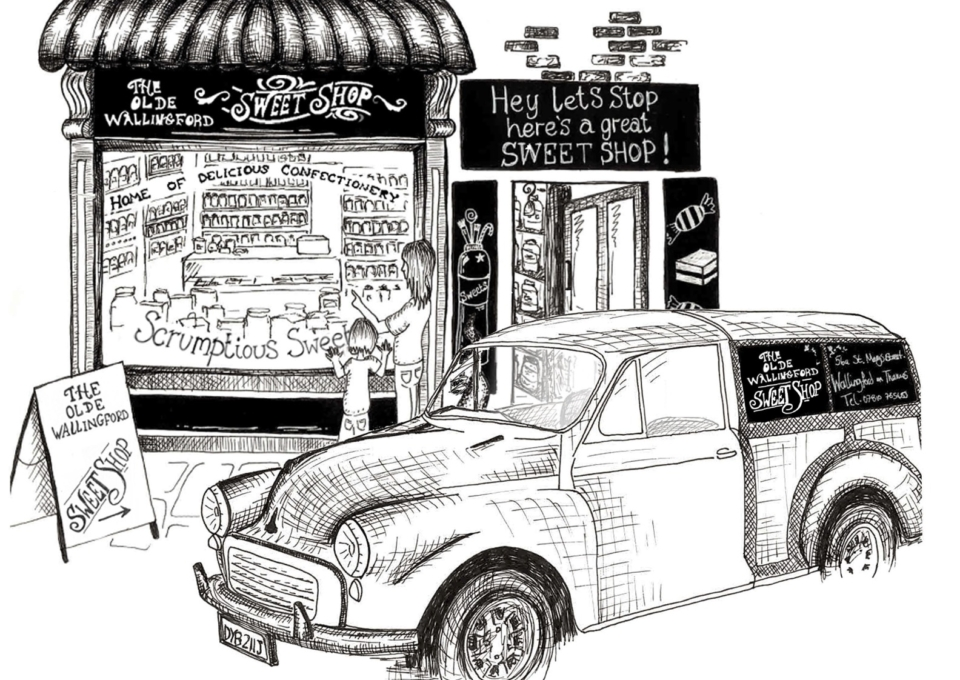 Olde Wallingford Sweet Shop with car