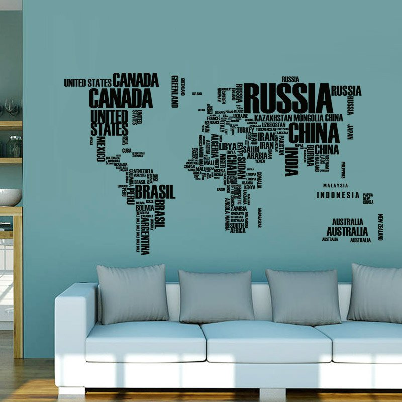 Wallingshop online wall decal store for stickers canvas arts creative text version world map wall sticker gumiabroncs Image collections