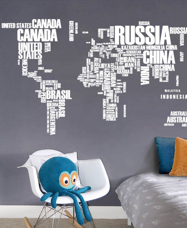 creative text version world map wall sticker
