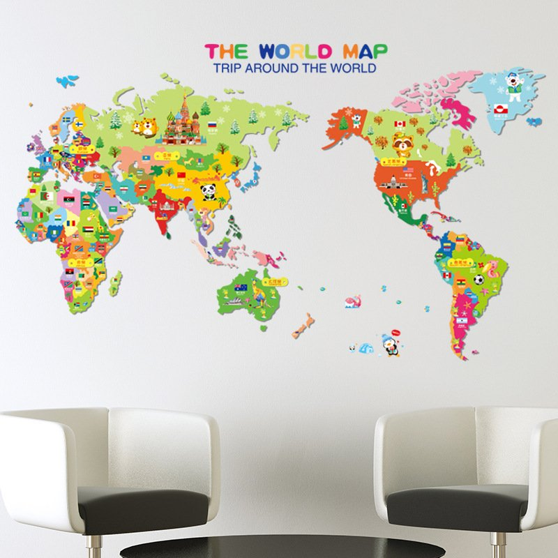 Walling shop shop stunning wallpapers wallstickers and art colorful animal world map gumiabroncs Image collections
