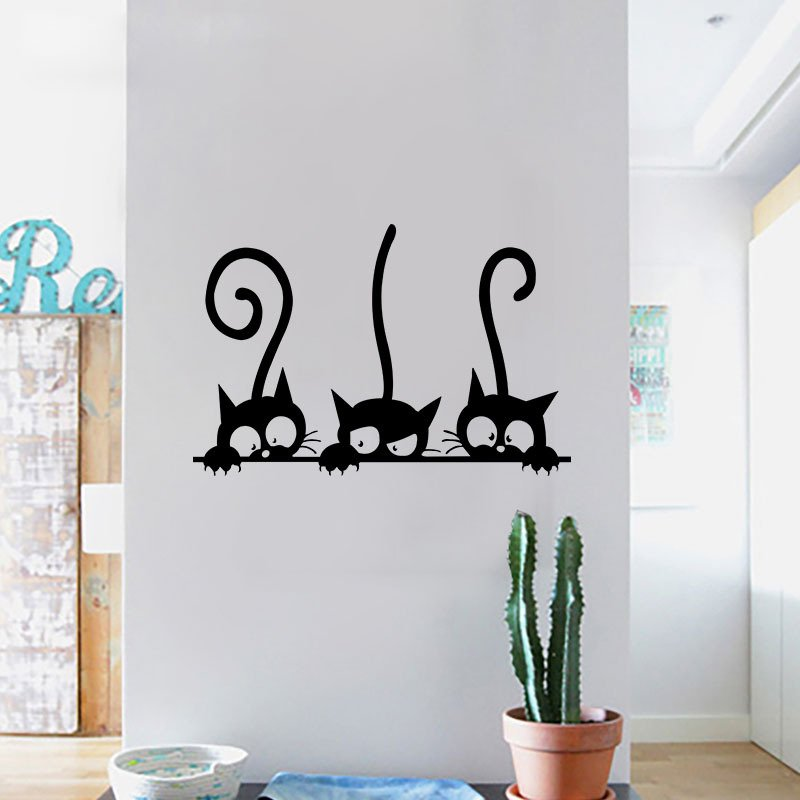 Lovely 3 Black Cute Cats Wall Sticker & Wallingshop.com - Online Wall Decal Store for Stickers Canvas u0026 Arts
