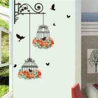 Flying Black Bird Cage Wall Sticker | Walling Shop