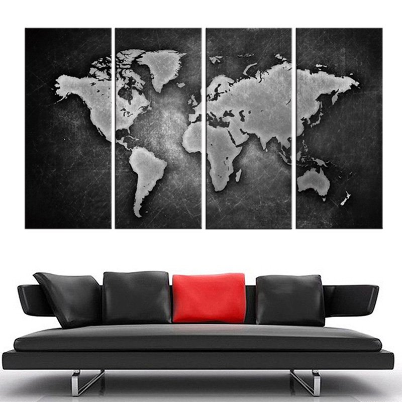 Wallingshop online wall decal store for stickers canvas arts 4 pcs framed black and white world map gumiabroncs Choice Image