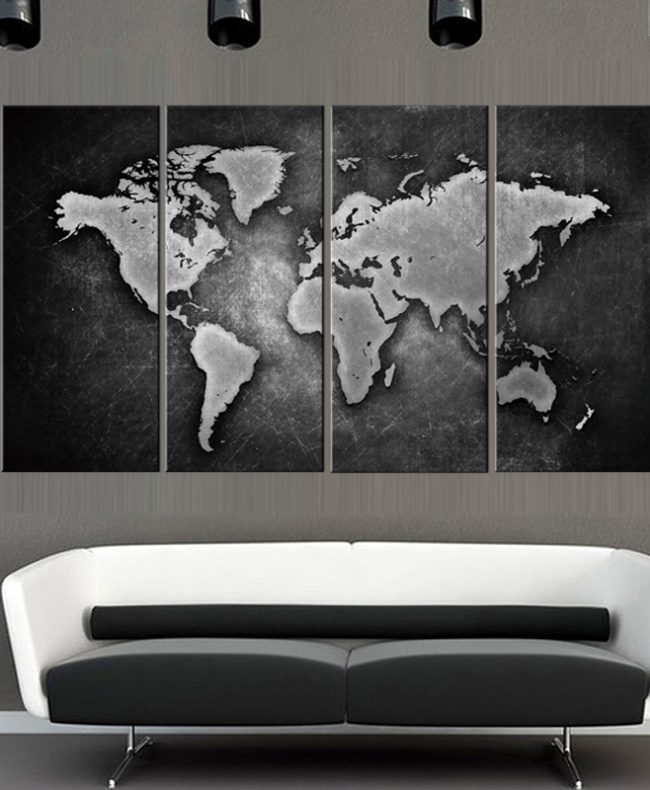 Wallingshop online wall decal store for stickers canvas arts 4 pcs framed black and white world map gumiabroncs Gallery