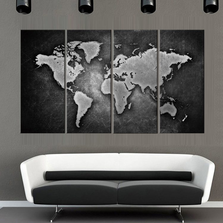 Wallingshopcom Online Wall Decal Store For Stickers Canvas Arts - White framed world map