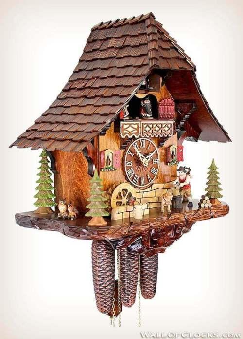 Adolf Herr 446/1 8tmt Busy Woodsman Cuckoo Clock - Right Side View