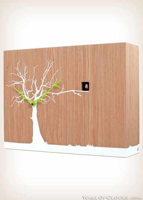 Progetti Oak wood natural Cucuruku cuckoo clock - side view