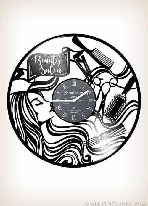 Beauty Salon Hairdresser Vinyl Clock