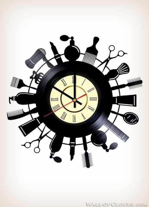 Hair Stylist Salon Vinyl Clock