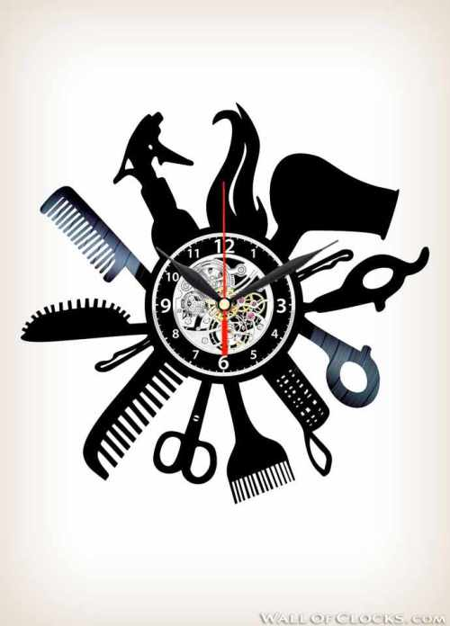 Hairdresser Barber Shop Salon Vinyl Clock