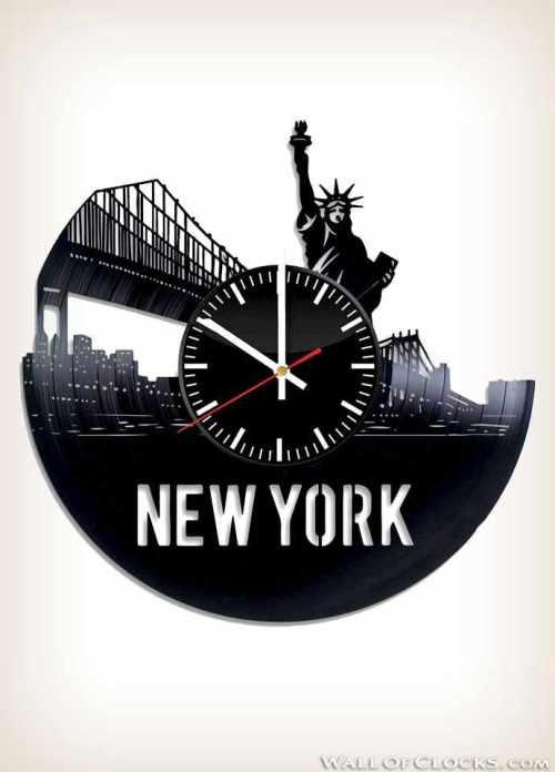 New York Skyline Design Vinyl Clock