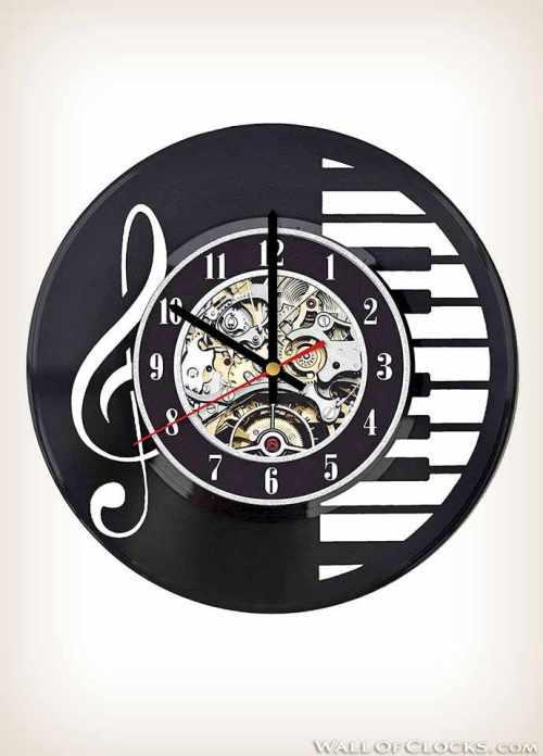 Piano and Music Note Vinyl Clock