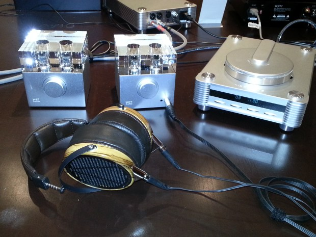 Woo Audio's WA7 amplifier, shown with the Audeze headphones