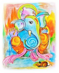 Lord Ganesha Colored Pencil Artwork  Wall of Wonders