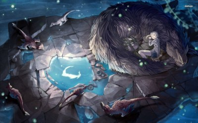 Girl sleeping with mythical creatures wallpaper Fantasy
