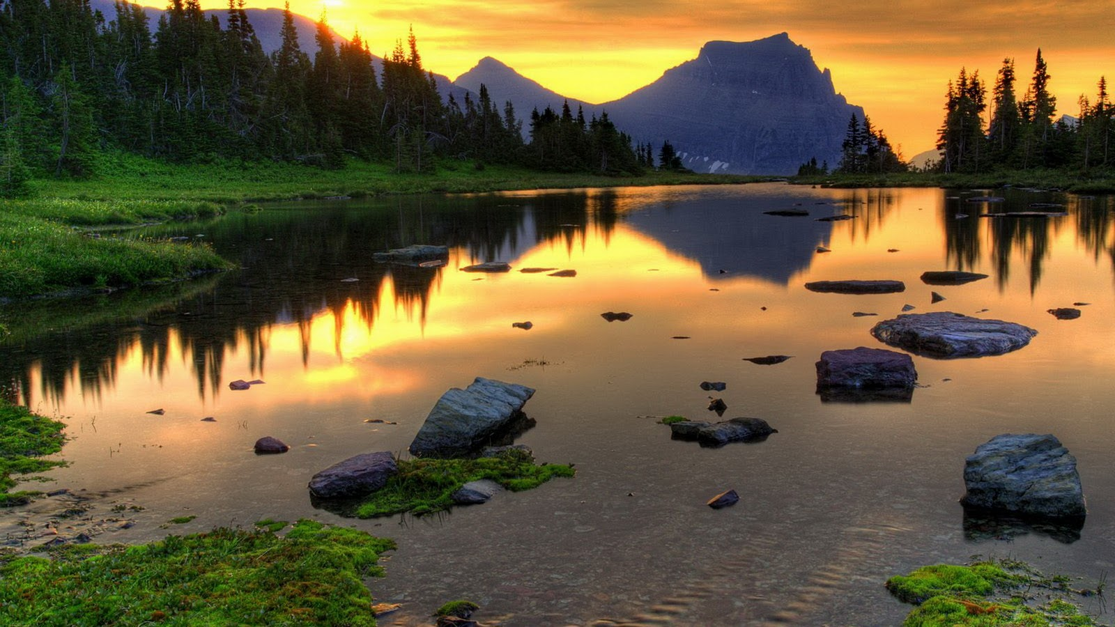This hd wallpaper is about landscape, evening, sunset, mountain lake, high tatras national park, original wallpaper dimensions is 1920x1080px,. Mountain Lake Sunset 4771 Wall Paper