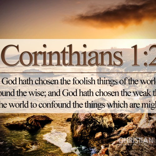 1 Corinthians 1:27 christian wallpaper free download. Use on PC, Mac, Android, iPhone or any device you like.
