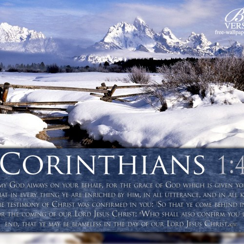 1 Corinthians 1:4-8 christian wallpaper free download. Use on PC, Mac, Android, iPhone or any device you like.