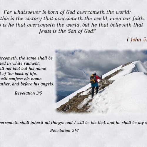 1 John 5:4-5, Revelation 3:5 and 21:7 christian wallpaper free download. Use on PC, Mac, Android, iPhone or any device you like.
