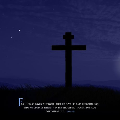 Cross and Moon (John 3:16) christian wallpaper free download. Use on PC, Mac, Android, iPhone or any device you like.