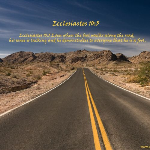 Ecclesiastes 10:3 christian wallpaper free download. Use on PC, Mac, Android, iPhone or any device you like.