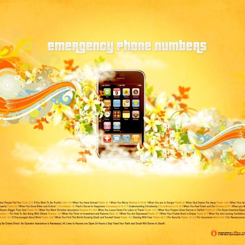Emergency Phone Numbers christian wallpaper free download. Use on PC, Mac, Android, iPhone or any device you like.