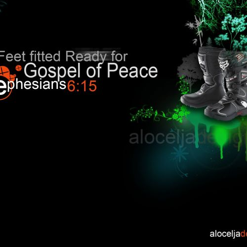 Ephesians 6:15 christian wallpaper free download. Use on PC, Mac, Android, iPhone or any device you like.