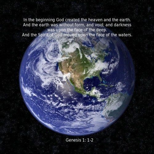 Genesis 1:1-2 christian wallpaper free download. Use on PC, Mac, Android, iPhone or any device you like.