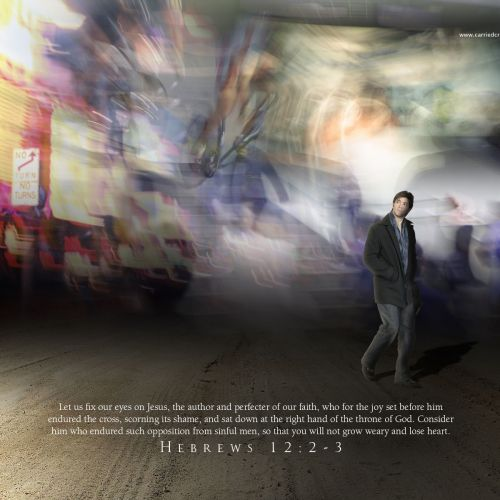 Hebrews 12:2-3 christian wallpaper free download. Use on PC, Mac, Android, iPhone or any device you like.