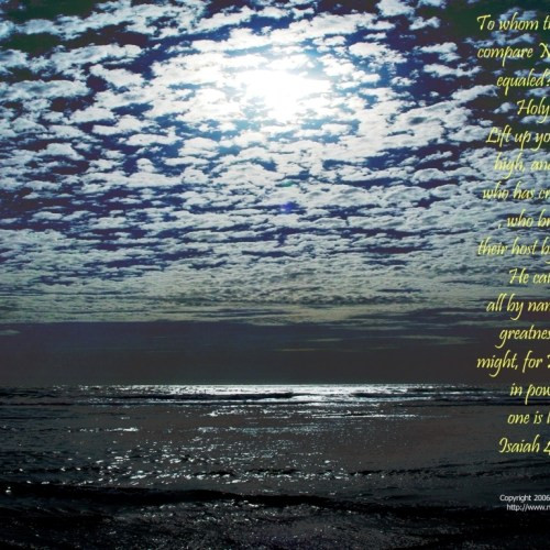 Isaiah 40:25-26 christian wallpaper free download. Use on PC, Mac, Android, iPhone or any device you like.
