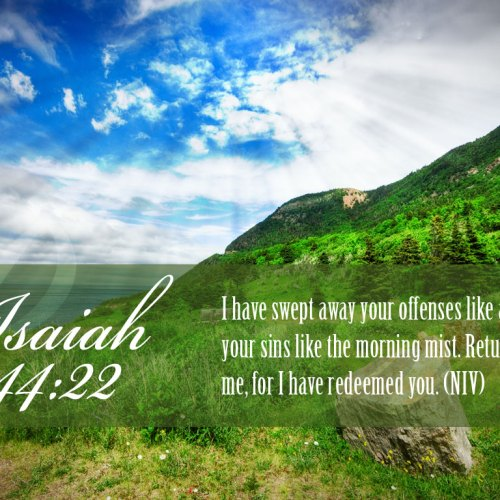 Isaiah 44:22 christian wallpaper free download. Use on PC, Mac, Android, iPhone or any device you like.